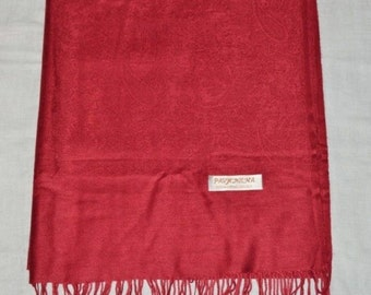 Tibetan Dark Red Pashmina and Silk Meditation Shawl with Self Design / Free Shipping