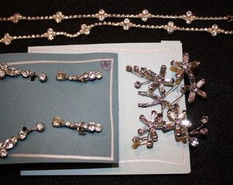 Rhinestone hair pin, necklace and dangle earrings