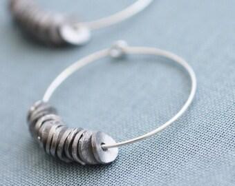 hoop earrings with beads, silver hoop earrings, modern earrings, silver earrings