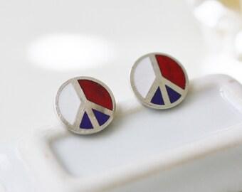 vintage earrings, peace sign earrings, peace sign jewelry, 1970s vintage, vintage post earrings, enamel earrings