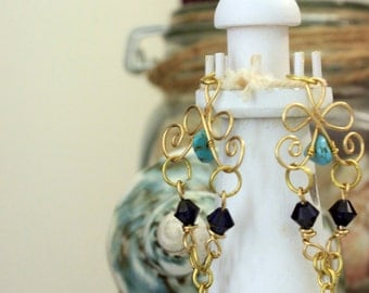 Sea Blues - Brass Wire Wrapped Earrings with Swarovski Blue/Indigo Beads and Turquoise Stone