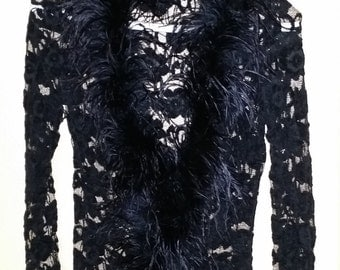 Transparent Black blouse with feathers