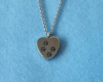 SALE - Pet Urn Necklace - Paw Print Heart Vial Cremation Jewellery Ashes Holder Urn Memorial Keepsake Stainless Steel Jewelry