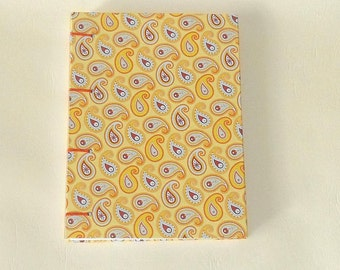 Notebook A6 - Paisley orange / / journal / / gift / / thoughts / / girlfriend / / memories