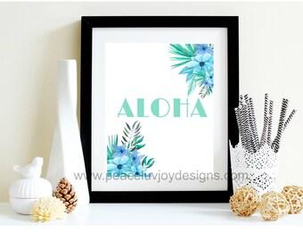 Printable Home Decor Art, Aloha Sign, Hawaiian Inspired Art, Instant Download, Apartment Decor, Hawaii Wall Printable, Green Home Decor Art