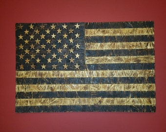 Burnt Wood Stars & Stripes (US Flag)