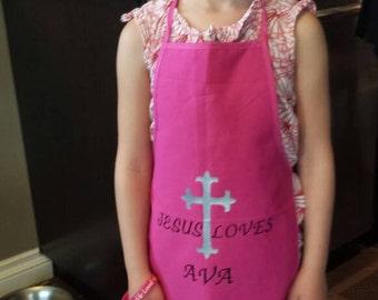 Jesus loves *kids name* apron