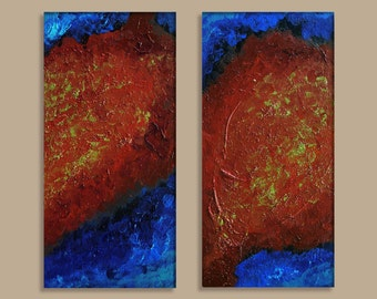Fury Among the Calm - 2pc Original Abstract Acrylic Painting