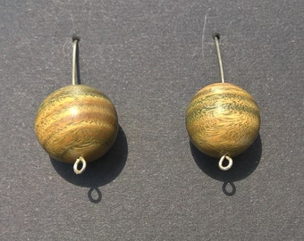 lignum vitae and Silver earrings