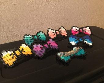 8 bit Hair Bow Barrette Pixel art  hama perler bead