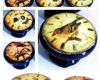 Antique Clock Bird Knobs Decorative Cupboard Knobs, 32 MM Pulls for Dressers, Cabinets, Furniture. Black Wooden Decoupage Knobs
