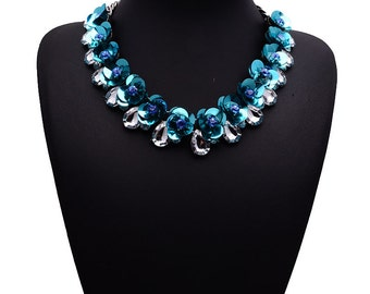 Bib Statement Sequin and Crystak Necklace in Blue Floral Semi-Precious Stone Boho Statment Necklace Prom Necklace Free Shipping