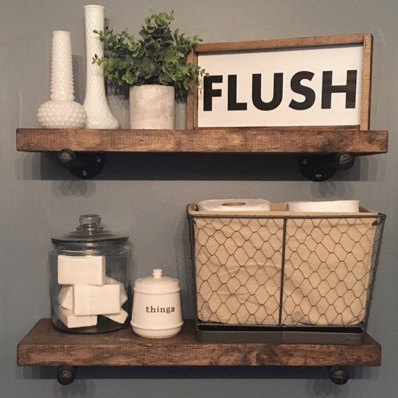 Bathroom flush sign custom home decor farmhouse style decor for Bathroom wall decor ideas