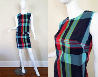Vintage 60s Dress / Mod Dress / Plaid Dress / 60s Sheath Dress / 60s Shift Dress / Size S
