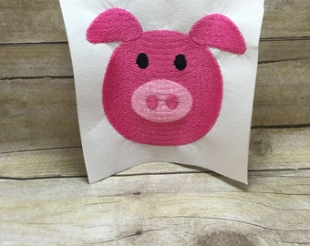 Pig Embroidery Design, Pig Face Embroidery Design