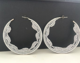 "Crochet hoops 2 1/4"" in silver"