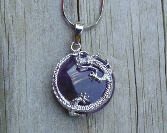 Natural Amethyst Dragon Necklace