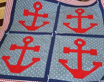 Nautical Anchor Baby Quilt/Boy/Girl