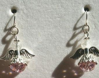 Pink crystal angel earrings