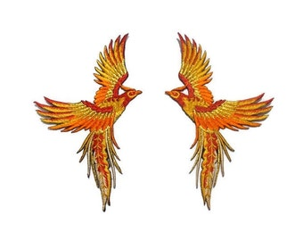 Phoenix Birds, embroidered patch, iron on/sew on appliques, 9 x 16 cm., set of 2, tangerine, fire orange, glittered gold, decorations (B-4)