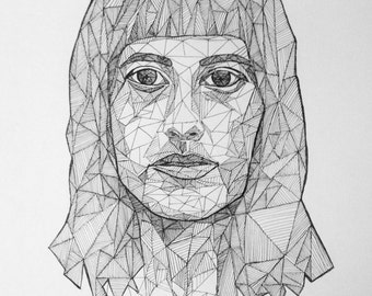 Custom geometric pen and ink portrait