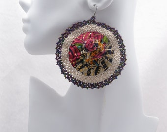 African Bloom #3 - Large Round Fabric Earrings