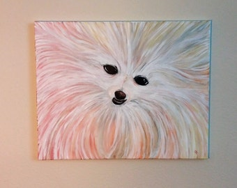 """Colorful Pomeranian 16""""x20"""" canvas hand painted"""