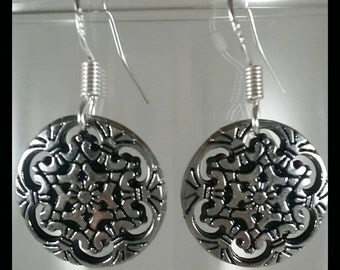 Tiny, Ornate, Metal, Filigree Button Earrings on Sterling Silver .925 Earwires