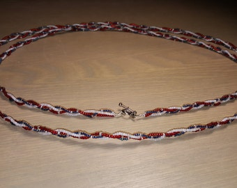 Red White and Blue Braided Necklace