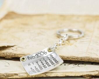 Personalised Silver Calendar Keyring