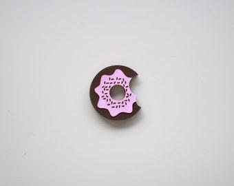 Donut Bite Laser Cut Wood Pin / Doughnut Brooch
