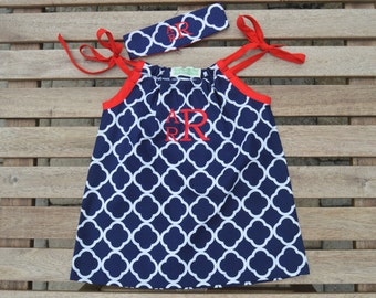 Childrens Monogrammed Dress with Matching Headband Set