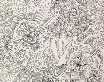Floral and coral, handmade, Original illustration, pen and ink, local canadian art