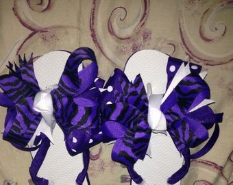 Purple and  white Bow flops