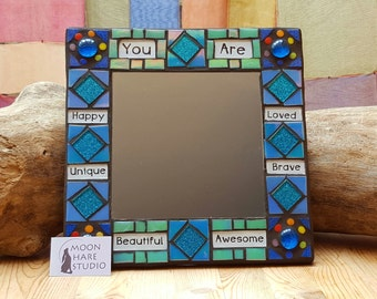 Positive Affirmation Mosaic Mirror Blues and Greens
