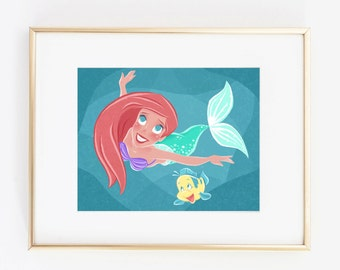 The Little Mermaid - Ariel & Flounder - Illustration - Instant Digital Download - JPG PDF - 5x7