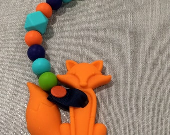 Orange Fox Pacifier Clip Teether