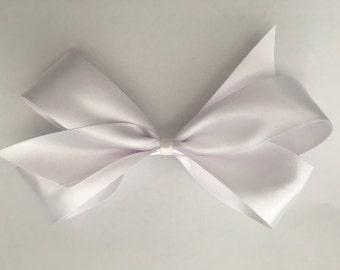 Large Satin Hair Bow, Satin Hair Bow, White Satin Hair Bow, White Large Hair Bow