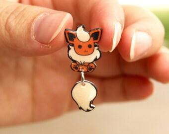 Flareon Dangle Tail Earrings Cute, Pokemon Inspired- Water Resistant, Gloss Finish
