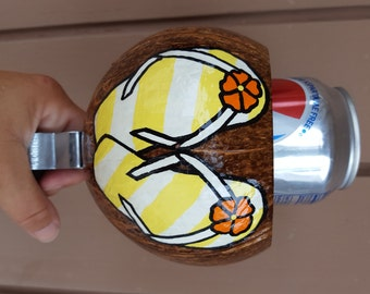 Coconut Cup Holder for Bike - Flip Flops white, yellow, and orange