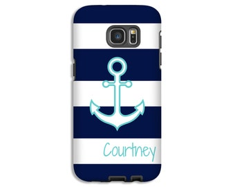 Nautical Samsung Galaxy S8 case, anchor Galaxy S7 Edge case, navy stripes Google Pixel case, nautical A3 case, 3D A3 cases
