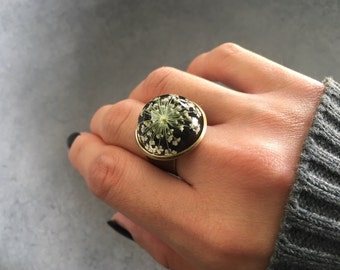 White Queen Anne's Lace against Black in Antique Bronze Bezel Resin Ring, Statement Ring