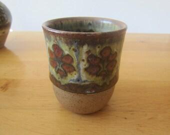 M. Andersen, Denmark - 70s Studio Ceramics - bucket 2 multicolored glaze painting