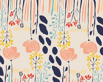Pretty Floral Fabric | Modern Floral | Pink | Wild Flowers | Rose | Light Blue | Red | White | Garden Fabric | Feminine | Unique Floral
