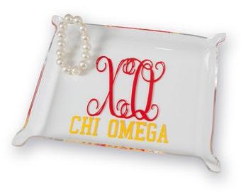 XO  Chi Omega Sorority Acrylic Trinket Tray.