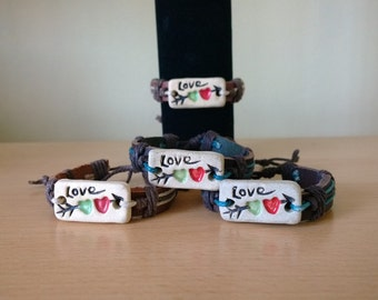 Leather and pottery Love bracelet