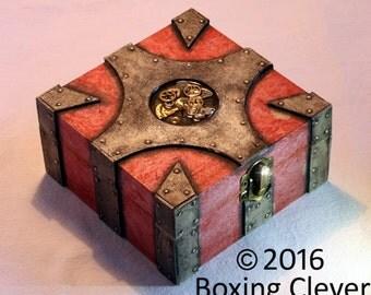 Steampunk Jewellery Box - Metallic style Panels, Red Finish & Watch  Parts - 4.7x4.7x2.3 Inches - Keepsake/Trinket/Jewelry FREE DELIVERY UK