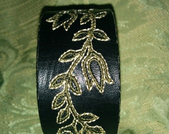 Black Embroidered Leather Cuff Bracelet