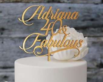 Birthday topper,  Fabulous 40 , Birthday Cake Decor, Anniversary Happy Bithday Cake Topper