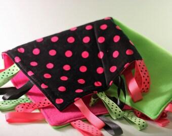 Lime and Pink Polka Dot Tag Blanket